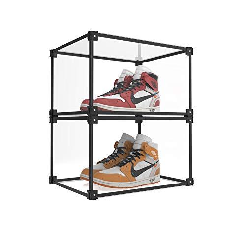 iLifeTech - Caja de zapatos de acrílico plegable y transparente, resistente al polvo, caja de almacenamiento para el hogar, sala de estar, cajón apilado (2 unidades)