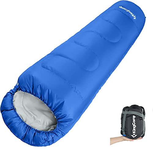 KingCamp Trek 3-4 Season Juniors Mummy Saco de Dormir Doble Capa cálido para niños Niñas Acampar al Aire Libre Senderismo