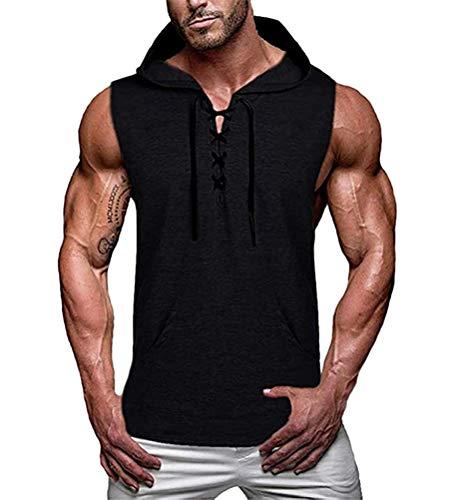 Onsoyours Débardeur Musculation Homme à Capuche Imprimé Sport Fitness Gym T-Shirt Gilet sans...