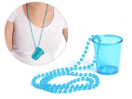 Alsino Schnapsglas mit Kette Pinnchen an Perlenkette JGA Junggesellenabschied Accessoire Outfit Schnapsbecher Shots Trinkglas Unterwegs, Variante wählen:LG9609 blau