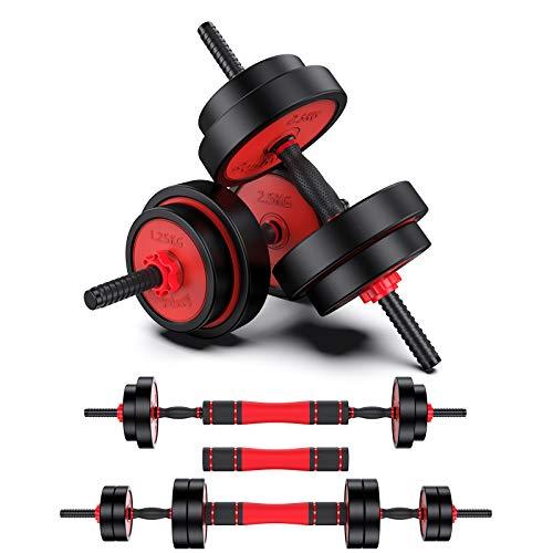 OneV FT Einstellbare 15Kg Kurzhantel Langhantel 2 in 1 Set mit Verbindungsstange freie Gewichte Stärke Home Fitness-Übungsgeräte für Haus, Fitnessstudio, Büro