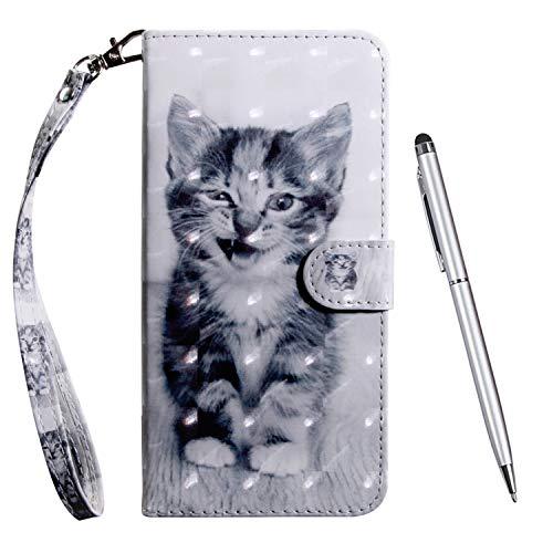 TOUCASA Hülle Kompatibel mit Huawei Honor View 20, Handyhülle Brieftasche PU Leder Flip [3D] Hülle Magnetverschluss Handytasche Klapphülle Tasche Lederhülle Schutzhülle (Katze)