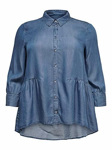 ONLY Carmakoma Camisa de mujer Curvy Denim, Dark Azul Denim, 44