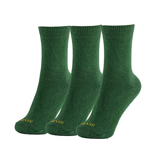 Minime Calcetines Cortos Escolares Lisos Niño Colegio Pack de 3 (Verde, 35-37)