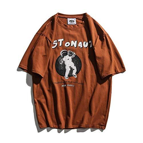 Generic Brands Men's Short-Sleeved Trendy Retro Street Hip-hop Primer T-Shirt for Men and Women