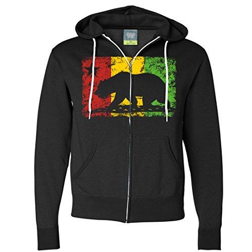 California Rasta Flag Silhouette Zip-Up Hoodie - Black 3X-Large