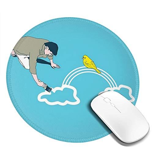 7.9x7.9 In Ronde Muis Pad Bureau Leven Schilderen Blauwe Hemel Witte Vogels Regenboog Toetsenbord Mat Grote Muis Pad Voor Computer Desktop PC Laptop