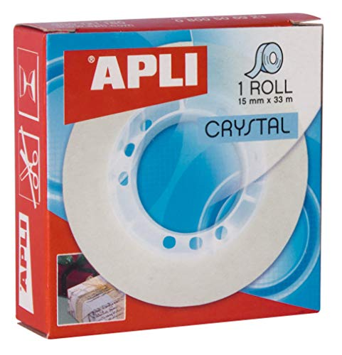Cinta Adhesiva Transparente Cristal En Cajita 15mm x 33m Apli 11035