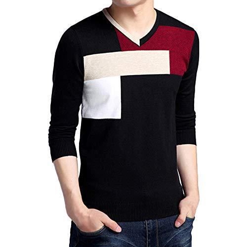Sweatshirt Herren,SANFASHION Men Winter V-Ausschnitt Tops Langarm V-Ausschnitt Pullover Colorblock Slim Rollkragenpullover