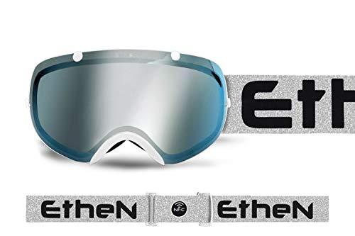 Ethen SK0317 Skibril voor volwassenen, uniseks, zilver en zwart