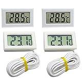 4Pcs Termómetro LCD Digital Monitor Temperatura de Acuario Termómetro Agua Con Sonda Impermeable para Frigorífico Congelador Acuario Pecera Temperatura del Agua Indicador (Blanco)