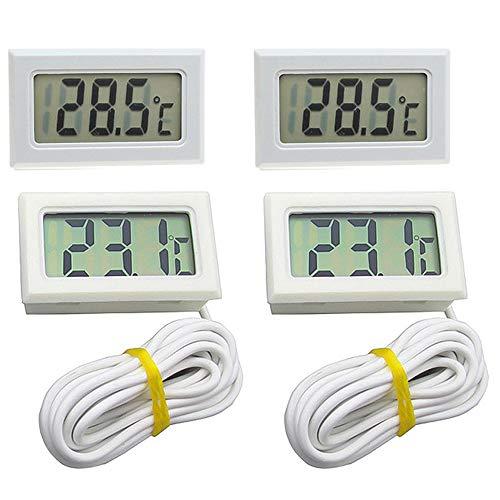 4Pcs Digital LCD Thermometer Temperaturüberwachung mit Sensor Tester für Kühlschrank Gefrierschrank Kühlschrank Reptile Inkubator Aquarium (Weiß)