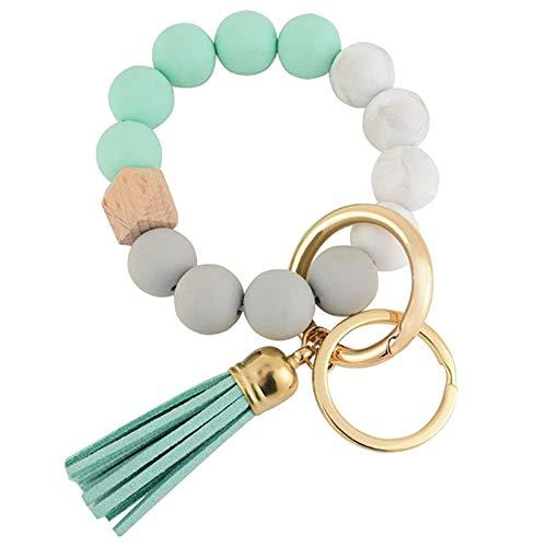 Haonan Women Bracelet, Portable House Car Keys Ring Holder Elastic Beaded Silicone Bracelet Bangle Wristlet Keychains Tassel