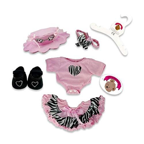 Build your Bears Wardrobe 5060322144214 Costume d'ours en Peluche avec Chapeau et Chaussures Motif zèbre Rose