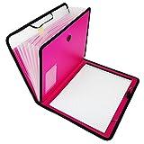 D.RECT Maletín portadocumentos, bloc de notas, carpeta clasificadora, ampliable, portátil, carpeta portadocumentos, goma redonda con botón de cierre, 7 compartimentos A4 rosa