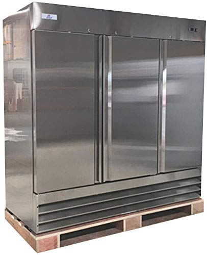 Commercial Refrigerator 3 doors Solid Reach in Upright Stainless Steel 81' Width, Capacity 72 Cuft, 110V for Restaurant Kitchen Cooler Fridge All 46 Dup1