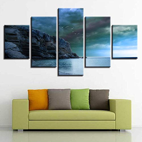 rkmaster-modulaire canvas schilderij muurschilderingen 5 vogel clips zee en hemel landschap foto's kunst frame decoratie woonkamer