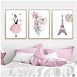 Póster de princesa rosa nórdica flor Torre Eiffel arte de pared para cuarto de niños impresión en lienzo pintura cuadros decorativos dormitorio para niñas y niños (50x70 cm sin marco)
