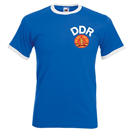 Herren T-Shirt, Design: Fußballtrikot der DDR, Retro-Stil Gr. Small, Royal Blue and White