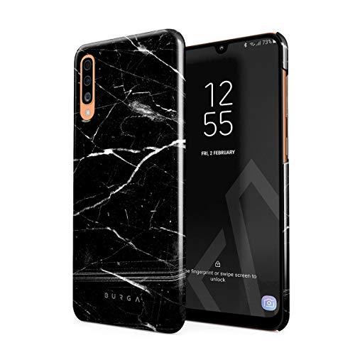 BURGA Hülle Kompatibel mit Samsung Galaxy A50 - Handy Huelle Schwarz Marmor Muster Black Marble Mädchen Dünn Robuste Rückschale aus Kunststoff Handyhülle Schutz Case Cover