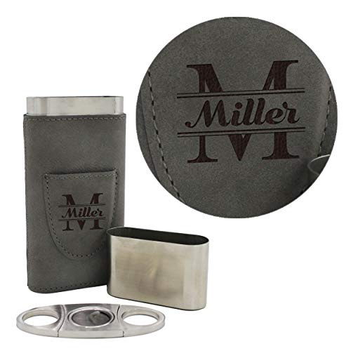 Custom Personalized Cigar Holder - Monogrammed Cigar Gift Case with Cutter (Gray)