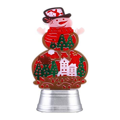 jojofuny Weihnachten Schneemann Nachtlicht Kunststoff LED Leuchten Weihnachten Schneemann Figur Weihnachten Tisch Herzstück für Urlaub Weihnachtsfeier Dekoration Keine Batterie Rot