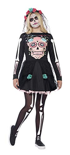 Smiffys Costume Sweetie Sugar Skull, avec robe & tiare