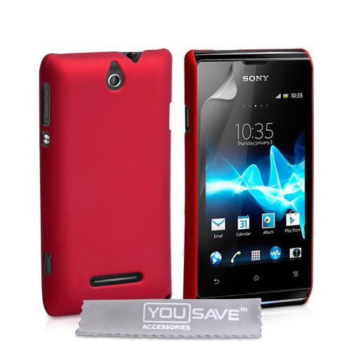 Yousave Accessories-Custodia Rigida Ibrida per Sony Xperia E-Red