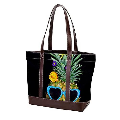 Frutas tropicales Gafas de sol Piña Humor Bolsos de flores para madres, mujeres, niñas, señoras, estudiantes, monedero, compras, bolsos de hombro, bolso de mano, correa liviana
