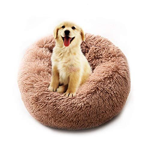 TVMALL Hundebett Katzenbett Rundes Kissen Katzenbett und Sofa Bequemes Süßes Hundekissen für Kleine und Mittlere Hunde zur Verbesserung des Schlafes - Waschbar (Braun,M)