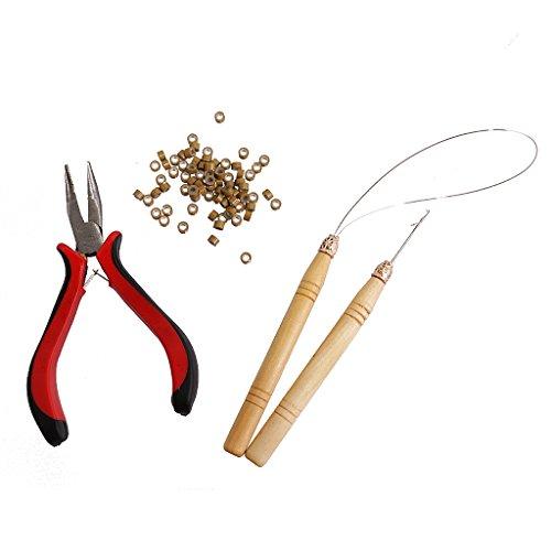 Fenteer Set Extension De Cheveux Pinces Crochet Tirer Aiguille Threader Anneau pour micro bague ou micro application perles