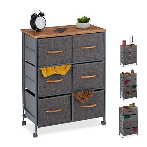 Relaxdays Schubladenschrank mit Rollen, 6 Stoff Schubladen, Deko Stoffschrank, Holzoptik, HBT 74,5 x 58 x 30 cm, grau