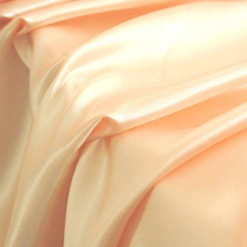 TOLKO Glanz Satin Modestoff/Deko-Stoff/Kostümstoff als Meterware zum Nähen, Dekorieren und Basteln (Apricot)