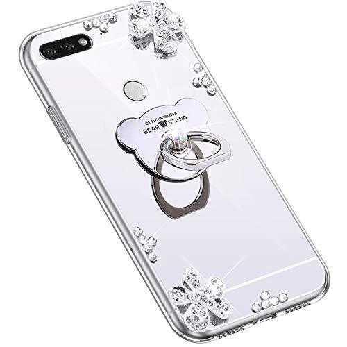 Uposao Kompatibel mit Huawei Honor 7C Hülle Glitzer Diamant Glänzend Strass Spiegel Mirror Handyhülle mit Handy Ring Ständer Schutzhülle Transparent TPU Silikon Hülle Tasche,Silber