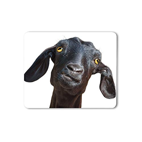 Moslion Black Goat Mouse Pad Cute Funny Animal Port Up Humorous Face Head Yellow Eyes Gaming Mouse Mat Non-Slip Rubber Base Thick Mousepad for Laptop Computer PC 9.5x7.9 Inch