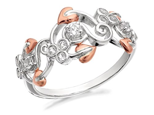 Clogau Womens Ladies Jewellery Silver And 9ct Rose Gold Origin White Topaz Ring - R