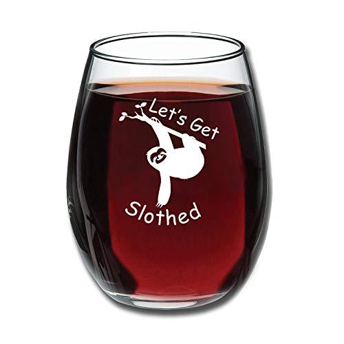 Let' s Get Slothed Funny 425,2gram Stemless Wine Glass–unico Bradipo di compleanno idee regalo per uomo o donna–Sloth amante regali per lui o lei–Novità regali collega per ufficio o Best Friend