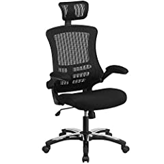 High back office chair with wheels Mesh back with built-in lumbar support Adjustable headrest for maximum comfort, made with black nylon and a chrome base Executive style swivel chair perfect for office and desk PRODUCT MEASUREMENTS: Overall Size: 25...