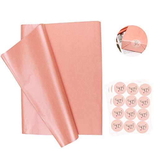 100 Blatt Rosenrosa Seidenpapier mit 10 Blatt von 120 Stück Dankesaufklebern, metallische Geschenkpapiere, werden für Geschenkverpackungen, Dekorieren von Hochzeiten