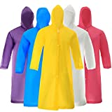 5 Packs Reusable Rain Poncho for Adult Man and Women with Hood(Multicolor)