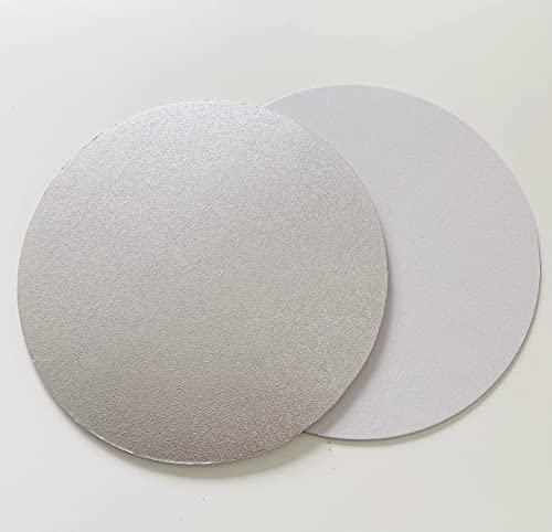 10 Stk. Cake Board Ø 30 cm Cake Drum 3 MM beschichtet Kuchenplatte Tortenplatte Cakeboard Tortenunterlage Fondant Silber/Weiß RUND