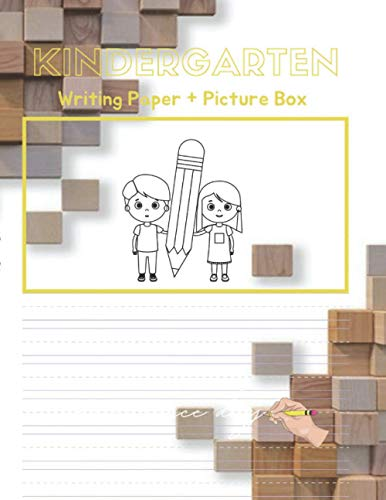 Kindergarten writing paper with Picture Box for kids, boy, girl practice the shapes and sizes of their letters, numbers and drawing, 120 pages, 3d rendering image cubic wooden wall cover
