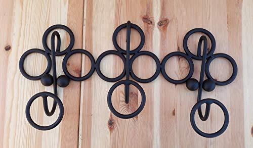 Perchero hierro, perchero decoración interior aros negro