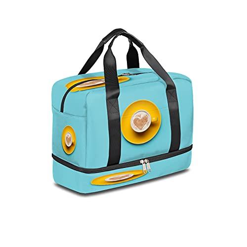 Bolsa de deporte para gimnasio, café, amor, corazón, bolsa de viaje ligera, con bolsillo húmedo y compartimento para zapatos, bolsa impermeable para hombres y mujeres