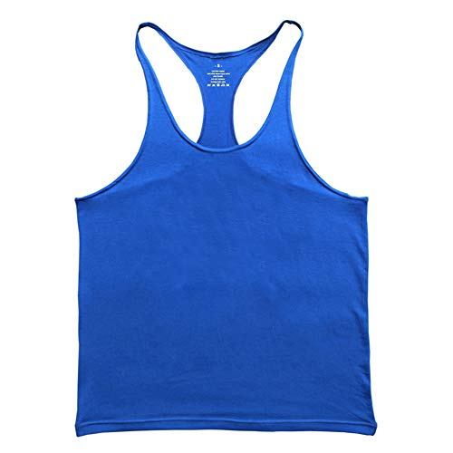 GYMAPE Mens Gym Stringer Singlet Elástico Bodybuilding Workout Tank Top Algodón Puro Size M