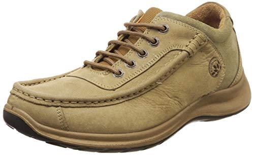 Woodland Men's Khaki Leather Sneakers - 9 UK/India (43 EU)