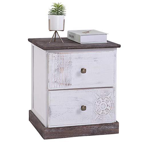 CARO-Möbel Nachttisch Juna Nachtschrank Nachtkonsole mit 2 Schubladen, grau/weiß Shabby Chic Vintage