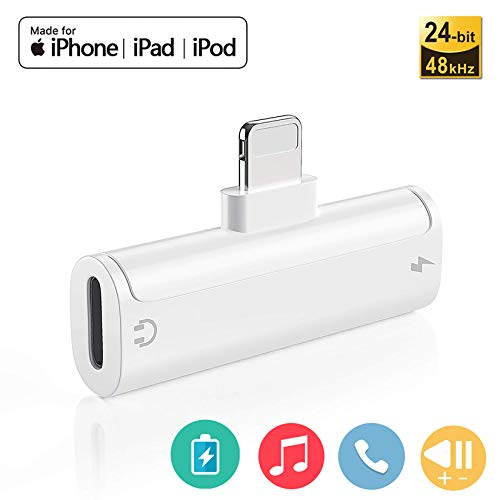 Adaptador para iPhone 11 Adaptador Jack de 3,5 mm Conector de Auriculares Adaptador Compatible con iPhone 8/8Plus/11/11Pro/ 7/7Plus/X/XS MAX Convertidor de Audio Compatible con Todos los iOS