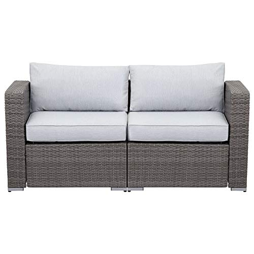 Wisteria Lane 2 Pieces Outdoor Patio Furniture Corner Sofas, All-Weather Wicker Loveseats with Grey Cushion
