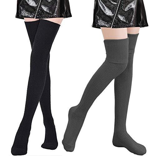 Tacobear 2 Paar Overknee Strümpfe Gestrickt Kniestrümpfe Damen Winter Warm Beinstulpen Beinlinge Strümpfe Baumwollstrümpfe Legwarmers für Damen und Mädchen (schwarz + dunkelgrau)